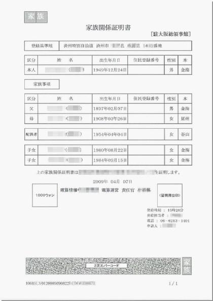 韓国語家族関係証明書(日本語訳)翻訳見本
